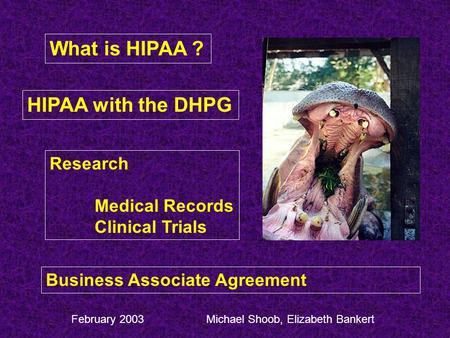 What is HIPAA ? HIPAA with the DHPG Research Medical Records Clinical Trials Business Associate Agreement Michael Shoob, Elizabeth BankertFebruary 2003.