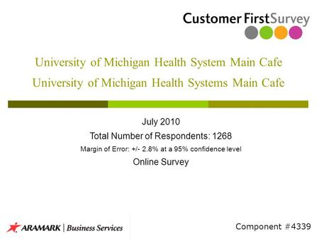 University of Michigan Health System Main Cafe University of Michigan Health Systems Main Cafe July 2010 Total Number of Respondents: 1268 Margin of Error: