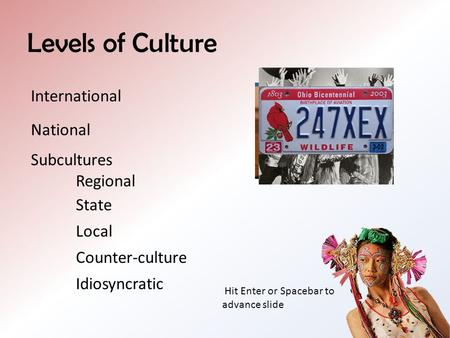 Levels of Culture International National Subcultures Regional State Local Counter-culture Idiosyncratic Hit Enter or Spacebar to advance slide.