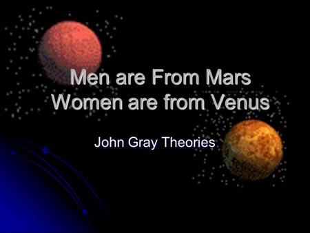 Men are From Mars Women are from Venus John Gray Theories.