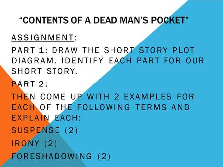 "contents of a dead man s pocket reflection Do you ever think about how a story can be really long and boring, well have you read ""contents of the dead man's pocket"" it may be long, but it is not boring."