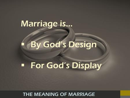 THE MEANING OF MARRIAGE Marriage is… By Gods Design For Gods Display.