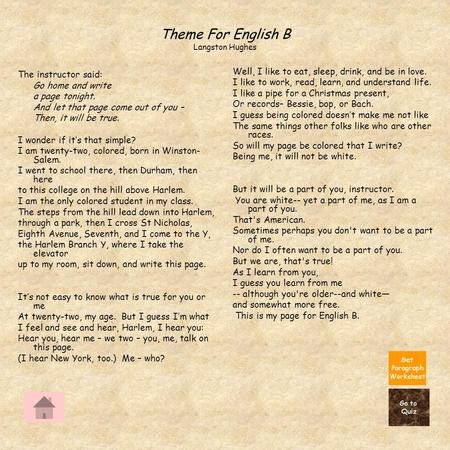 Beau Langston Hughes Theme For English B Essay Essay We Wear The Mask Paul  Laurence Dunbar That