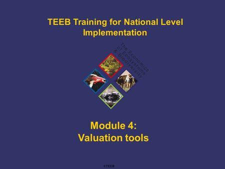 TEEB Training Module 4: Valuation tools TEEB Training for National Level Implementation ©TEEB.