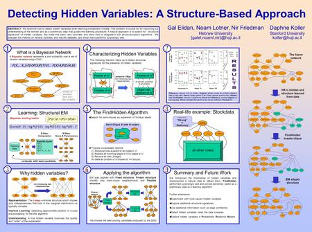 ABSTRACT: We examine how to detect hidden variables when learning probabilistic models. This problem is crucial for for improving our understanding of.