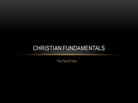 Christian Fundamentals