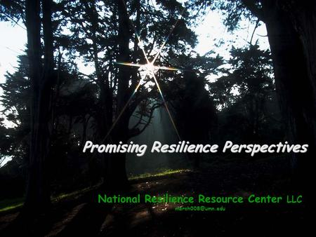 National Resilience Resource Center LLC Promising Resilience Perspectives.