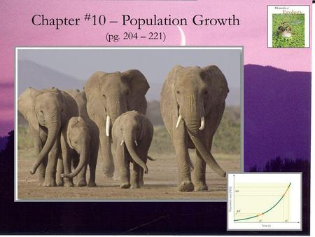 Chapter # 10 – Population Growth (pg. 204 – 221).