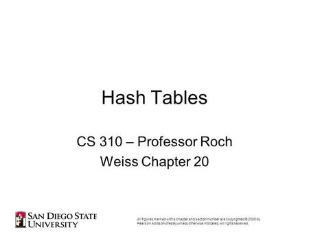 Hash Tables CS 310 – Professor Roch Weiss Chapter 20 All figures marked with a chapter and section number are copyrighted © 2006 by Pearson Addison-Wesley.