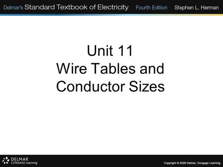 Unit 11 Wire Tables and Conductor Sizes. Objectives: Discuss factors that determine conductor ampacity. Discuss resistance of wire. Determine insulation.
