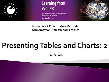 Numeracy & Quantitative Methods: Numeracy for Professional Purposes Laura Lake.