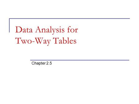 Data Analysis for Two-Way Tables Chapter 2.5. An experiment has a two-way, or block, design if two categorical factors are studied with several levels.