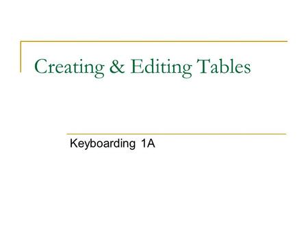 Creating & Editing Tables Keyboarding 1A. To Create a Table: From the Menu Bar, select Table select Insert select Table Type in the number of columns.