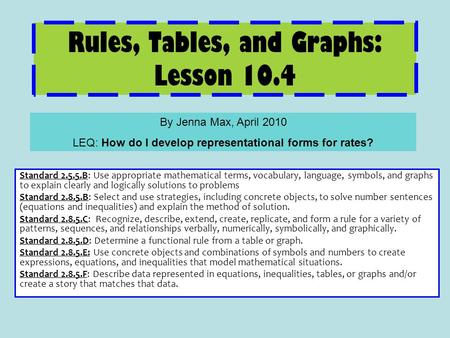 Rules, Tables, and Graphs: Lesson 10.4 Standard 2.5.5.B: Use appropriate mathematical terms, vocabulary, language, symbols, and graphs to explain clearly.