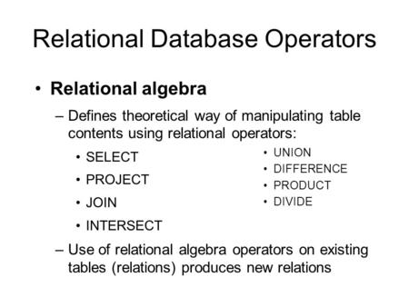 Relational Database Operators