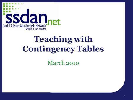 March 2010 Teaching with Contingency Tables 1. Welcome! Introduction Session I – How to teach with contingency tables – DataCounts! tutorial – Interactive.
