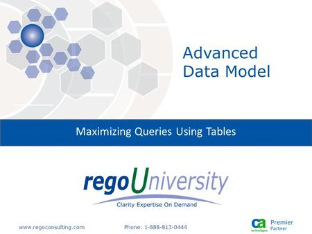 Www.regoconsulting.comPhone: 1-888-813-0444 Maximizing Queries Using Tables Advanced Data Model.