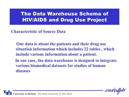 University at BuffaloThe State University of New York The Data Warehouse Schema of HIV/AIDS and Drug Use Project Characteristic of Source Data Our data.