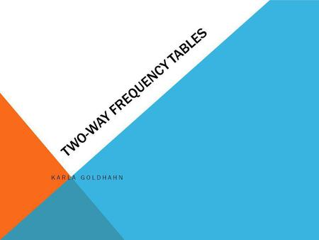 TWO-WAY FREQUENCY TABLES KARLA GOLDHAHN. STANDARDS: Common Core State Standards for Mathematical Practice 1. Make sense of problems and persevere in solving.