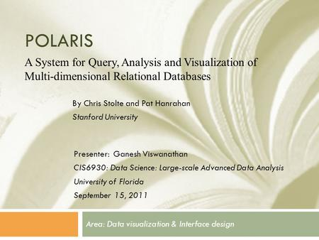 Area: Data visualization & Interface design