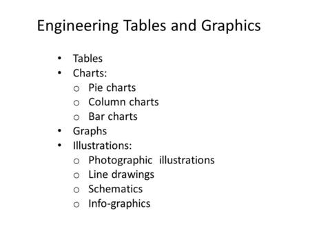 Engineering Tables and Graphics Tables Charts: o Pie charts o Column charts o Bar charts Graphs Illustrations: o Photographic illustrations o Line drawings.
