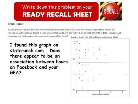 Write down this problem on your READY RECALL SHEET I found this graph on statcrunch.com. Does there appear to be an association between hours on Facebook.