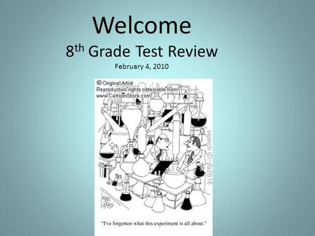 Welcome 8 th Grade Test Review February 4, 2010. Introductions - Name -School/District -Your experiences taking standardized tests.