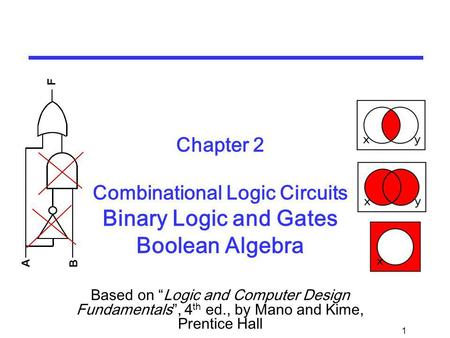 1 Chapter 2 Combinational Logic Circuits Binary Logic and Gates Boolean Algebra Based on Logic and Computer Design Fundamentals, 4 th ed., by Mano and.
