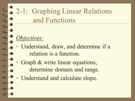 2-1: Graphing Linear Relations and Functions Objectives: Understand, draw, and determine if a relation is a function. Graph & write linear equations, determine.