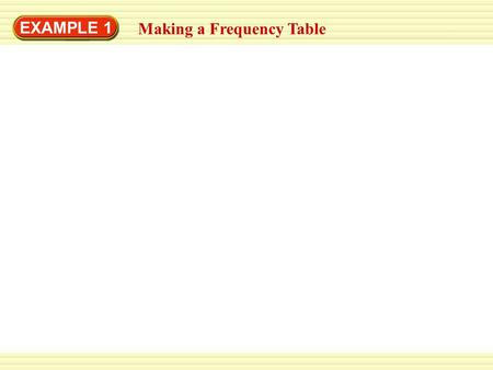 EXAMPLE 1 Making a Frequency Table. EXAMPLE 1 To find which type of art project was chosen most often, you can make a frequency table. Making a Frequency.