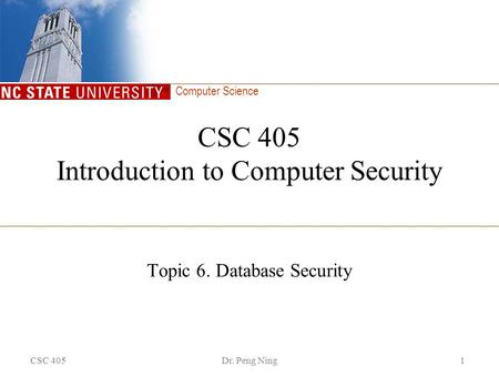 Computer Science CSC 405Dr. Peng Ning1 CSC 405 Introduction to Computer Security Topic 6. Database Security.