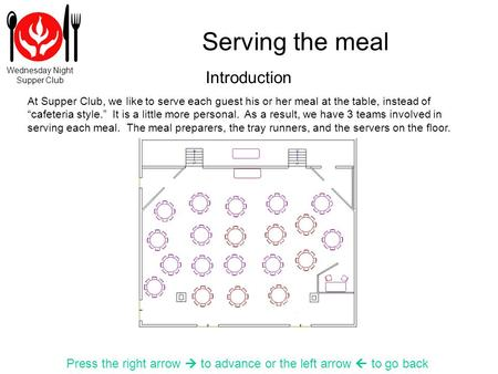 Wednesday Night Supper Club Serving the meal Press the right arrow to advance or the left arrow to go back At Supper Club, we like to serve each guest.