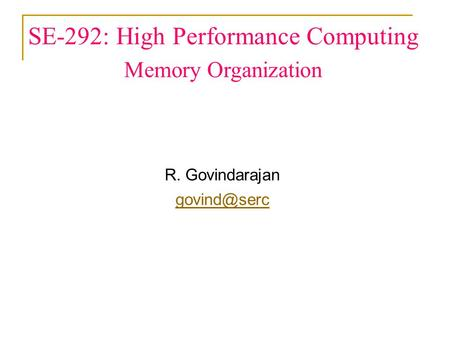 SE-292: High Performance Computing