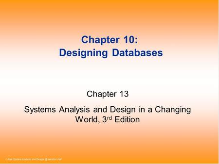 Chapter 10: Designing Databases