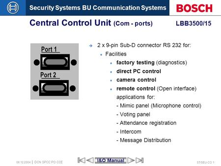 Security Systems BU Communication Systems ST/SEU-CO 1 DCN SPCC PO CCE 08.12.2004 Central Control Unit (Com - ports) LBB3500/15 2 x 9-pin Sub-D connector.