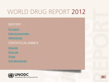 REPORT Full report Executive summary Methodology STATISTICAL ANNEX Seizures Drug use Prices Illicit laboratories.