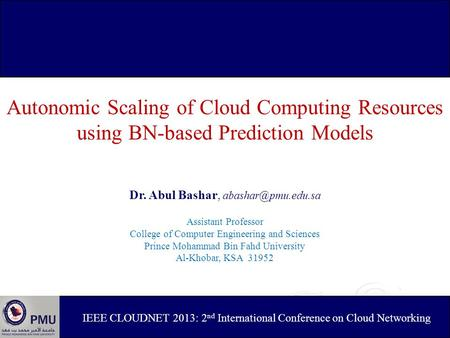 Autonomic Scaling of Cloud Computing Resources