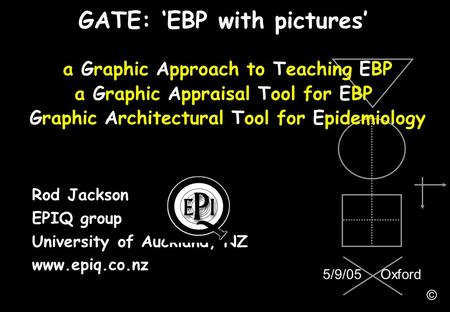 Rod Jackson EPIQ group University of Auckland, NZ