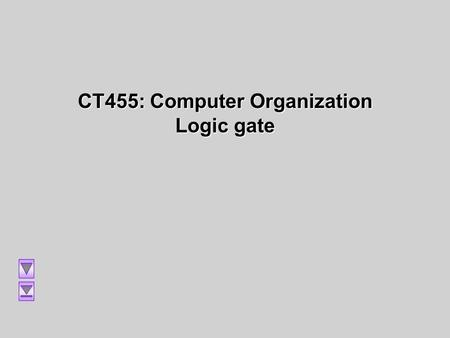 CT455: Computer Organization Logic gate. Lecture 4: Logic Gates and Circuits Logic Gates Logic Gates Logic Gates Logic Gates The Inverter The Inverter.