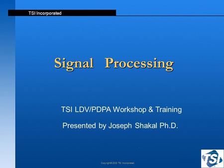 Signal Processing TSI LDV/PDPA Workshop & Training