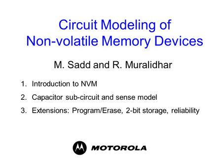 Circuit Modeling of Non-volatile Memory Devices