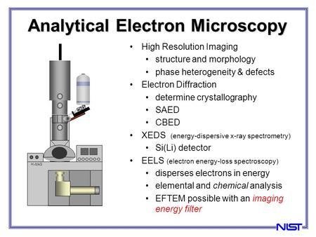 High Resolution Imaging structure and morphology phase heterogeneity & defects Electron Diffraction determine crystallography SAED CBED XEDS (energy-dispersive.