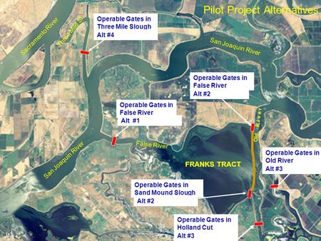 Pilot Project Alternatives FRANKS TRACT San Joaquin River False River Old R i v e r Sacramento River Operable Gates in Three Mile Slough Alt #1 Operable.