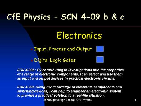 John Ogilvie High School - CfE Physics 1 CfE Physics – SCN 4-09 b & c Electronics Input, Process and Output Digital Logic Gates SCN 4-09b: By contributing.