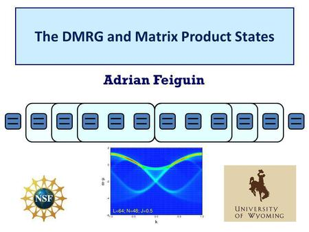 The DMRG and Matrix Product States Adrian Feiguin.