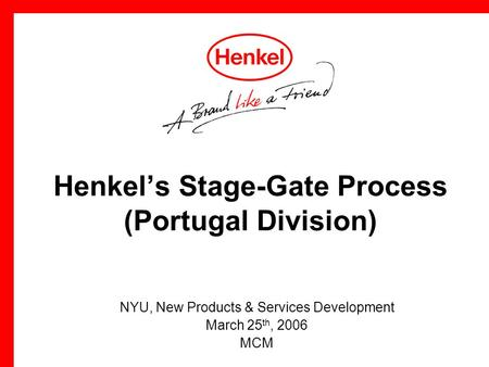 Henkel's Stage-Gate Process (Portugal Division)