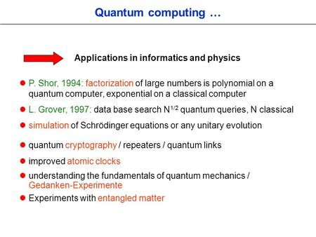Quantum computing … Applications in informatics and physics P. Shor, 1994: factorization of large numbers is polynomial on a quantum computer, exponential.