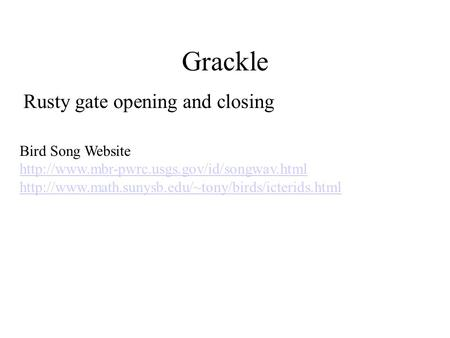 Grackle Rusty gate opening and closing Bird Song Website