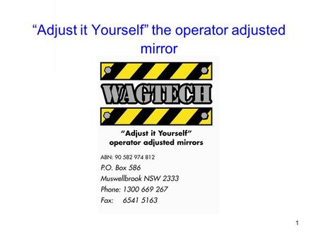 1 Adjust it Yourself the operator adjusted mirror.