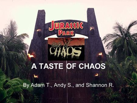 A TASTE OF CHAOS By Adam T., Andy S., and Shannon R.